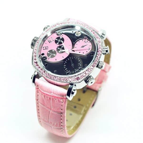 womens spy camera watch girls pink wristwatch
