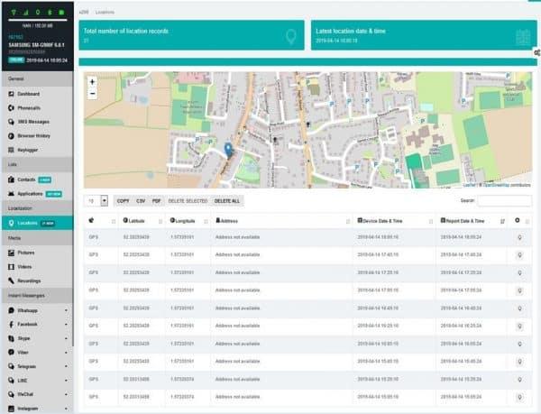 Android surveillance phone monitoring portal