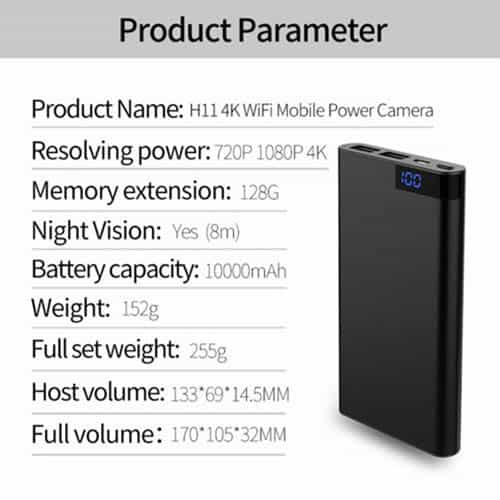 Spy phone power bank specification