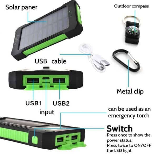 Durable solar power bank charger